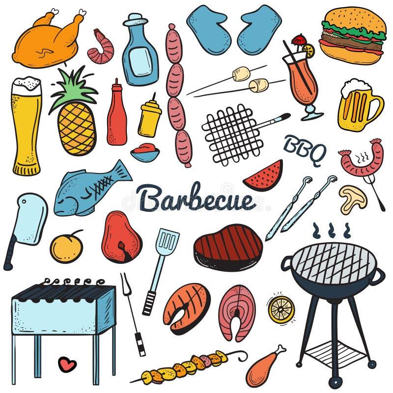Kolorowa wektorowa ręka rysujący Doodle grill i BBQ royalty ilustracja