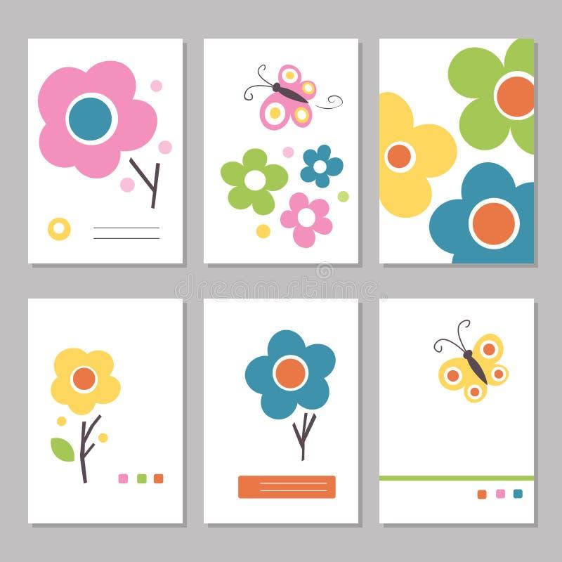 Kolorowa wiosna kwitnie matka dnia kartki z pozdrowieniami ilustracji