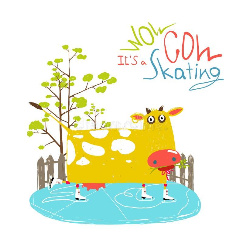 Kolorowa zabawy kreskówki jazda na łyżwach krowa dla dzieciaków royalty ilustracja