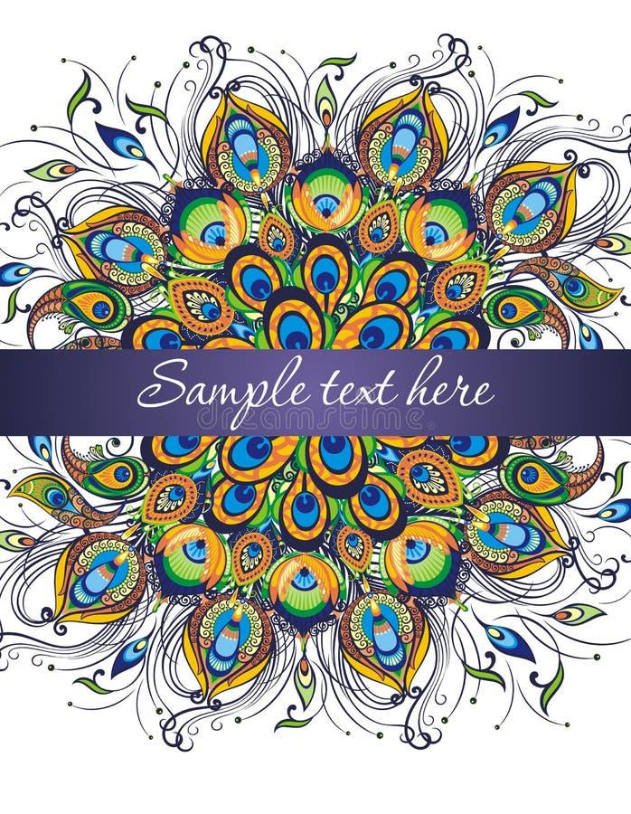 Kolorowa zaproszenie karta z pawimi piórkami ilustracja wektor
