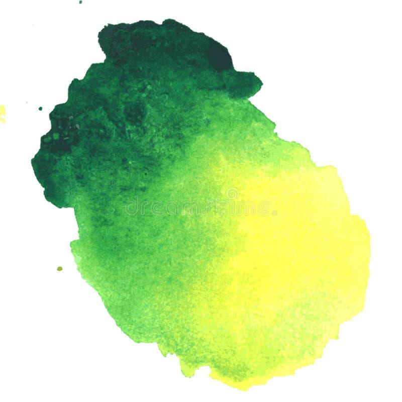 Kolorowa zielonożółta akwareli plama z aquarelle farby kleksem ilustracji