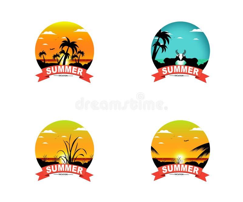 Kolorowa zmierzchu wakacje projekta kolekcja - set stylowi lato projekty na Tropikalnym Plażowym tle ilustracji