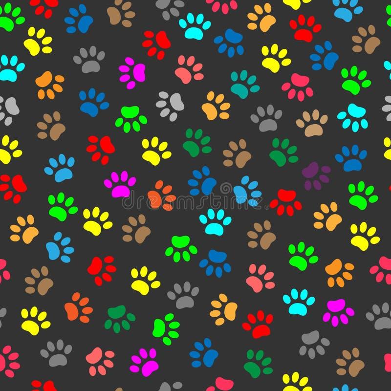 Kolorowa zwierzęca łapa drukuje bezszwowego wzór ilustracja wektor
