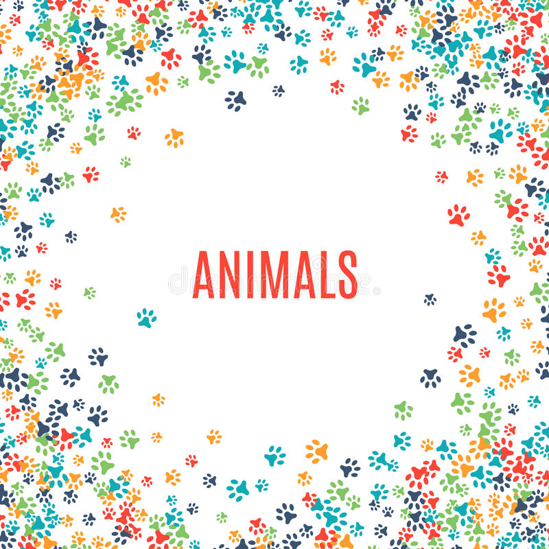 Kolorowa zwierzęca odcisku stopy ornamentu granica odizolowywająca na białym tle ilustracja wektor