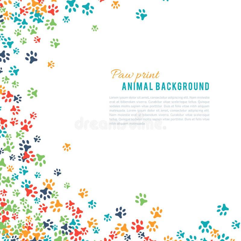 Kolorowa zwierzęca odcisku stopy ornamentu granica odizolowywająca na białym tle ilustracji