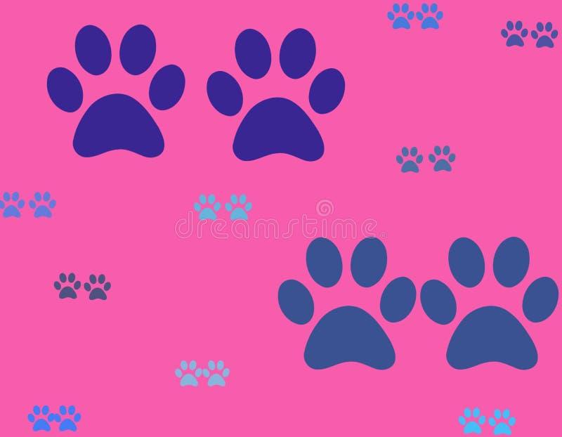 Kolorowe łapy pies malowali na jaskrawym tle Psiego łapa druku bezszwowy wzór na tle royalty ilustracja