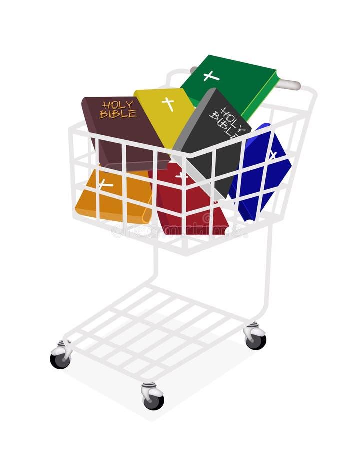 Kolorowe Święte biblie w wózek na zakupy ilustracji