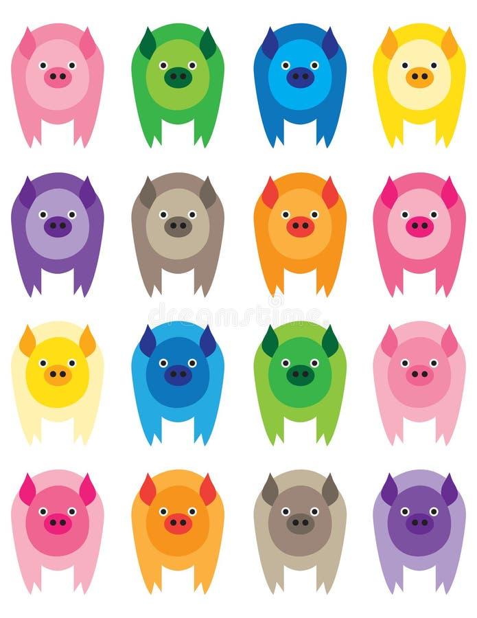 kolorowe świnie ilustracji