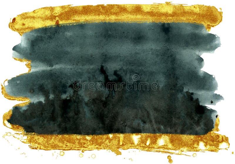 kolorowe akwarela t?o Czerni i złota muśnięcia uderzenia ilustracja wektor