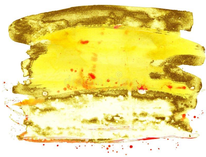 kolorowe akwarela t?o Koloru żółtego i złota muśnięcia uderzenia ilustracji
