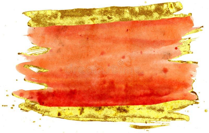 kolorowe akwarela t?o Pomarańcze i złota muśnięcia uderzenia ilustracji