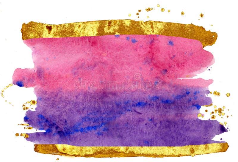 kolorowe akwarela t?o Różowi, popielaci i złociści szczotkarscy uderzenia, obraz royalty free