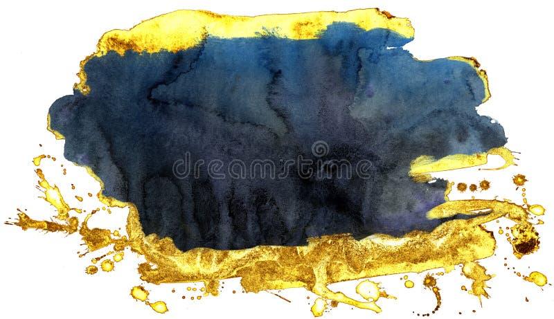 kolorowe akwarela t?o Rewolucjonistki i złota muśnięcia uderzenia ilustracji