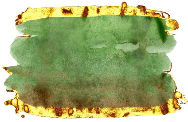 kolorowe akwarela t?o Zieleni i złota muśnięcia uderzenia zdjęcie royalty free