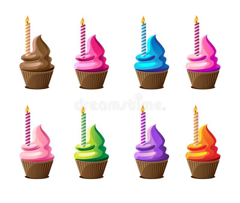 Kolorowe babeczki z świeczkami dla świętowania ilustracja wektor