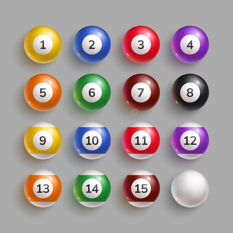 Kolorowe bilardowe piłki z liczbami royalty ilustracja