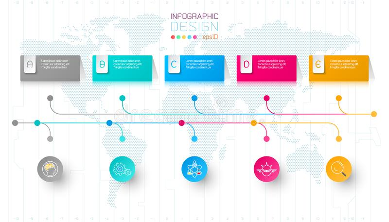 Kolorowe biznesowe prostokąt etykietki kształtują infographic horyzontalnego baru ilustracja wektor
