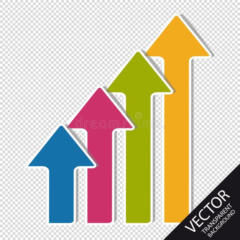 Kolorowe Biznesowe strzała wektor Ustawiający - Odizolowywający Na Przejrzystym tle - W górę kierunku - royalty ilustracja