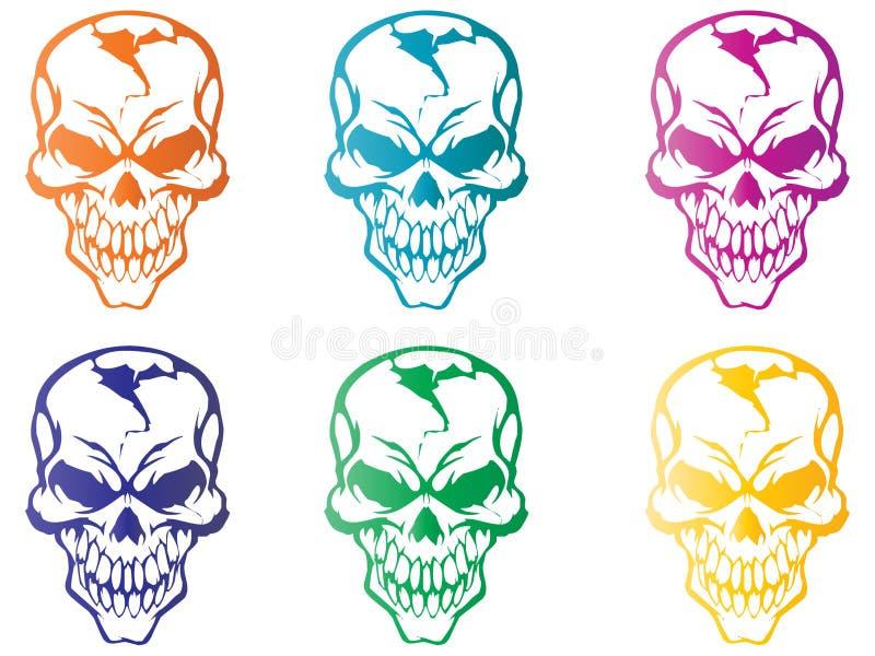 kolorowe czaszki ilustracji