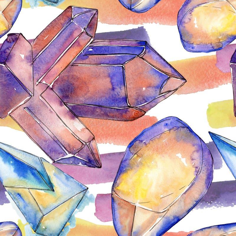 Kolorowe diament ska?y bi?uterii kopaliny Akwarela kryszta?u kamienia t?a set Bezszwowy t?o wz?r ilustracja wektor