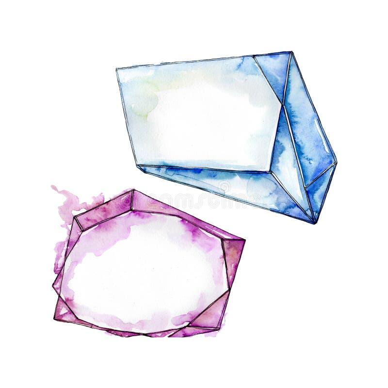Kolorowe diament ska?y bi?uterii kopaliny t?a bazy projekta ustalona akwarela Odosobniona krystaliczna ilustracja zdjęcie stock