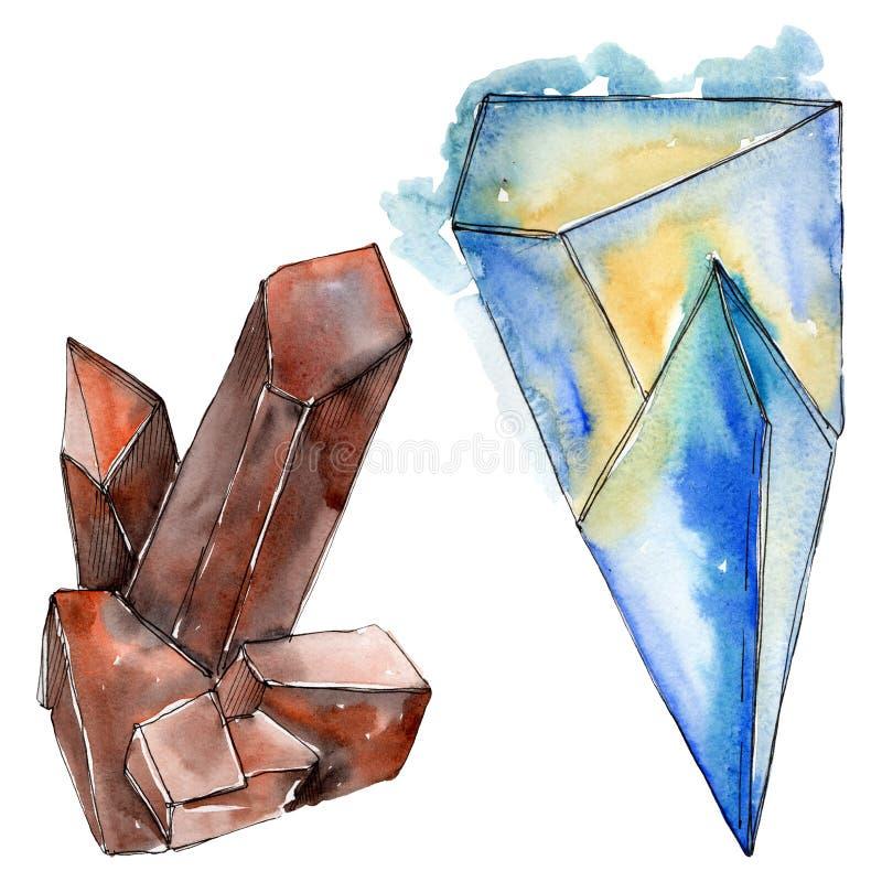 Kolorowe diament ska?y bi?uterii kopaliny t?a bazy projekta ustalona akwarela Odosobniony krystaliczny ilustracyjny element ilustracji