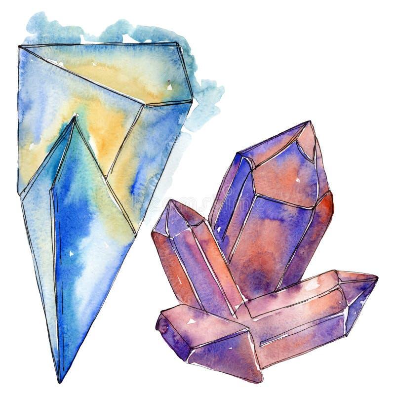 Kolorowe diament ska?y bi?uterii kopaliny t?a bazy projekta ustalona akwarela Odosobniony krystaliczny ilustracyjny element royalty ilustracja