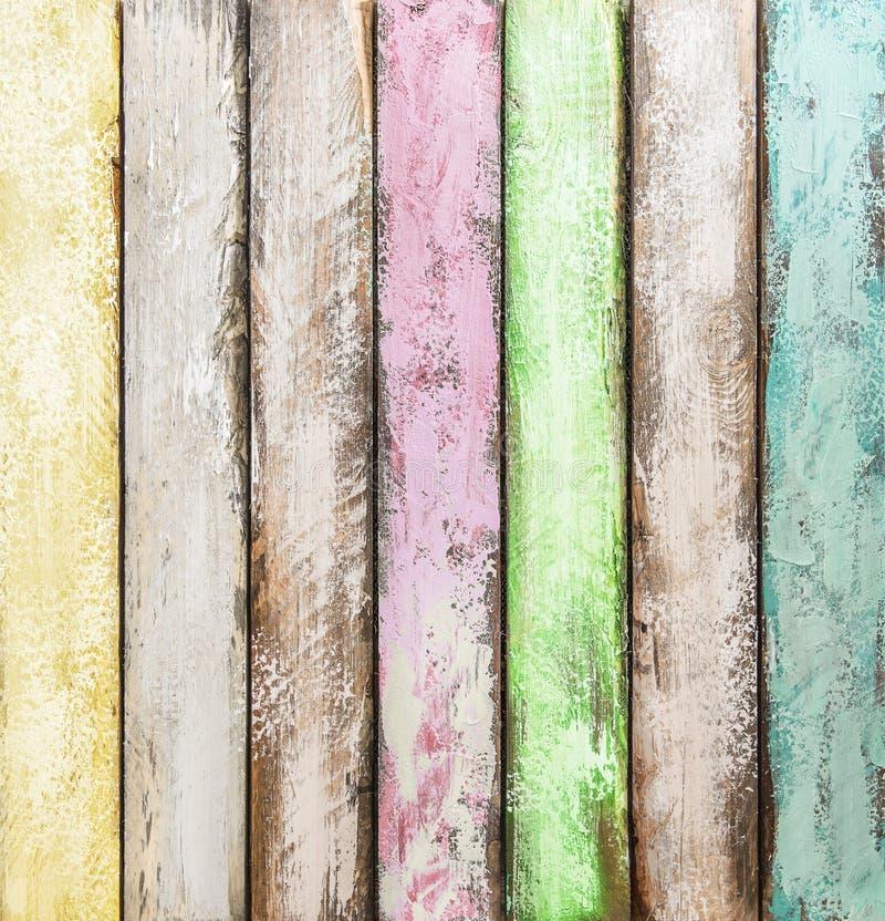 Kolorowe drewniane płytki Malujący drewniany tło fotografia royalty free