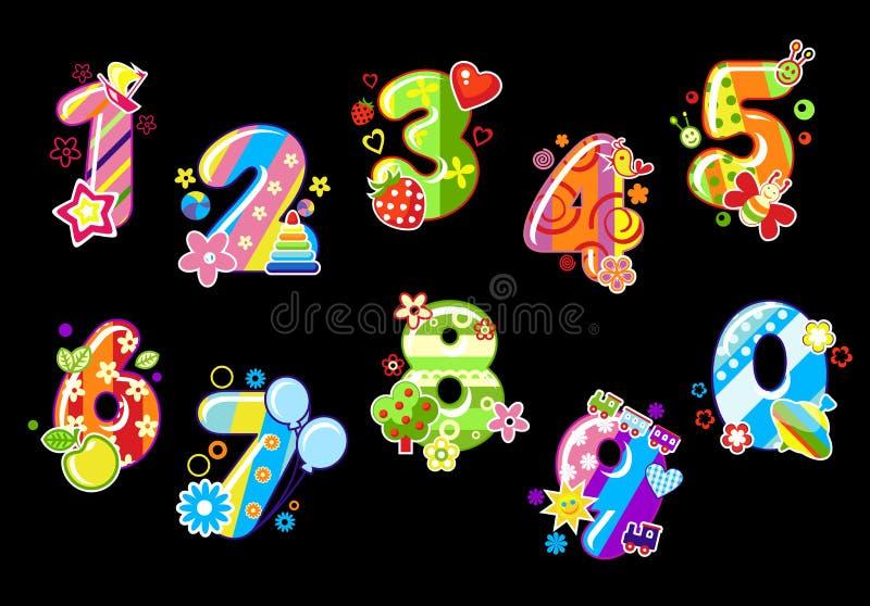 kolorowe dziecko liczby ilustracji