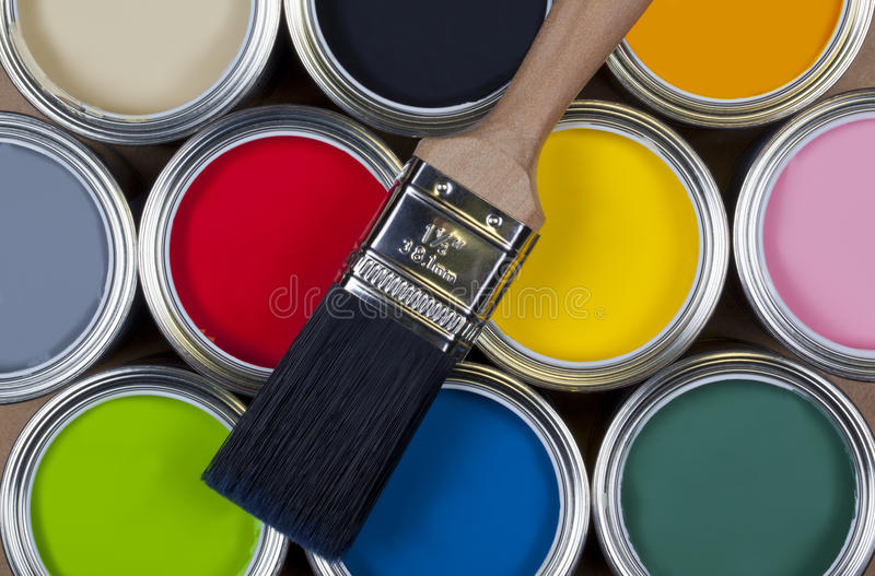 kolorowe emulsi farby cyny zdjęcia royalty free