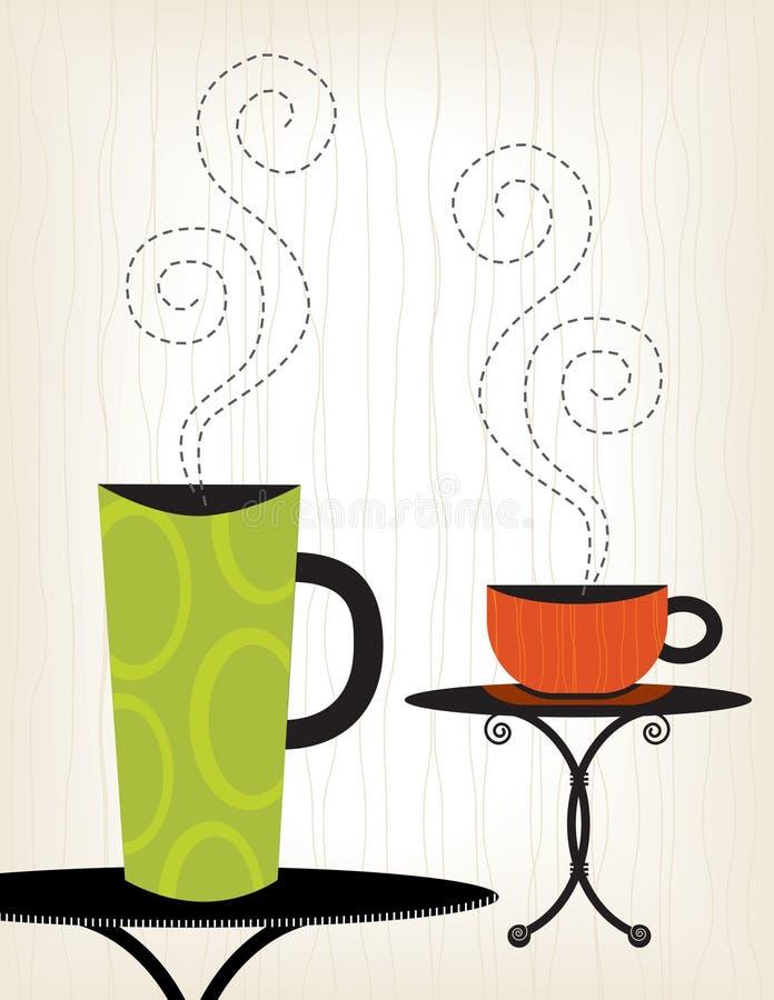 kolorowe filiżanki kawy ilustracji