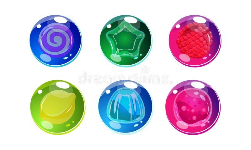 Kolorowe glansowane piłki ustawiają, błyszczące sfery z cukierkami, owoc wśrodku, interfejs użytkownika wartości dla mobilnych ap ilustracja wektor