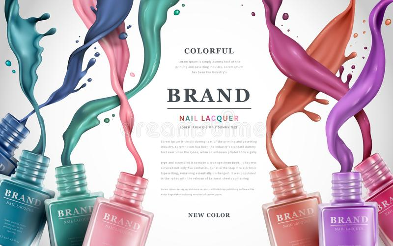 Kolorowe gwóźdź laki reklamy royalty ilustracja