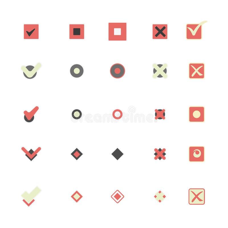 Kolorowe ikony który pokazuje ocechowaniu wyborowe ilustracje ustawiać royalty ilustracja