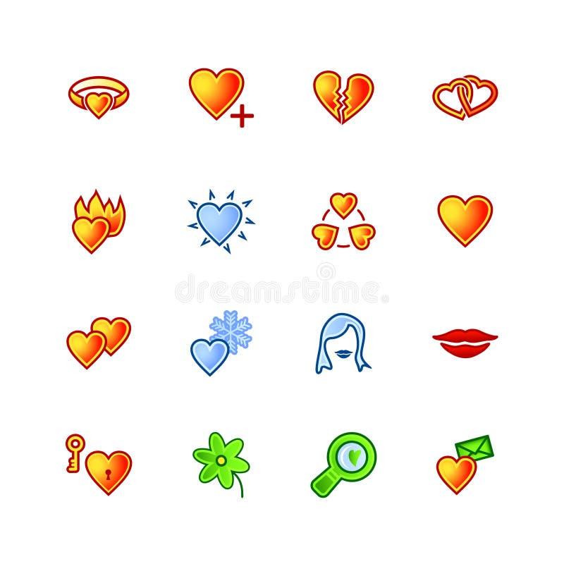 kolorowe ikony miłości ilustracji