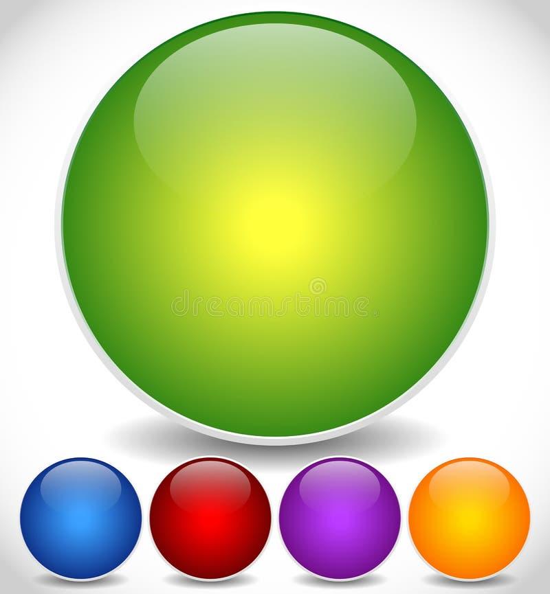 Kolorowe, Jaskrawe okrąg ikony z Pustą przestrzenią, i Glansowany skutek royalty ilustracja