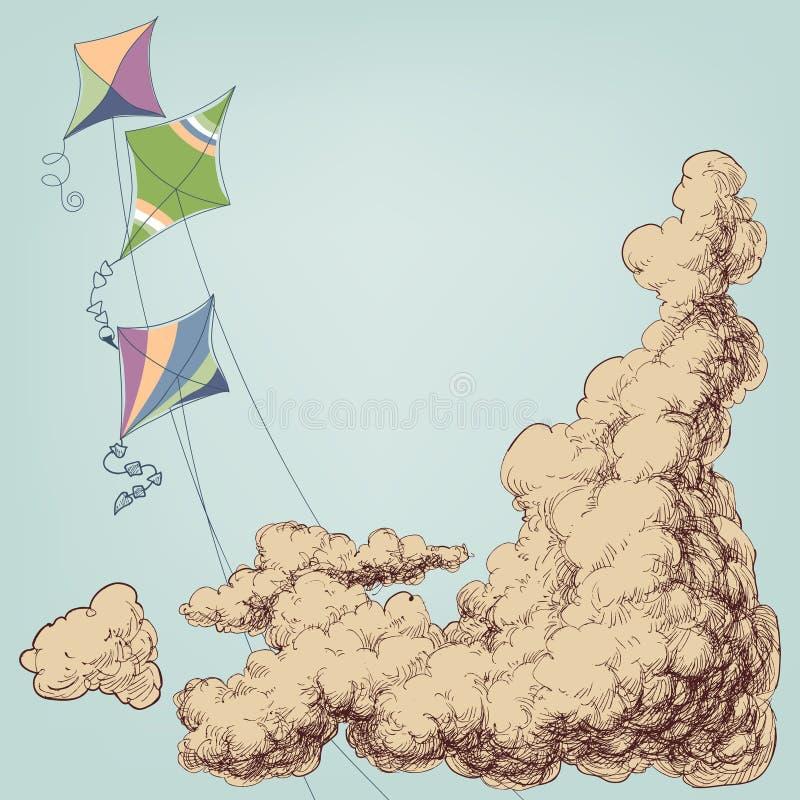 Kolorowe kanie lata w niebie ilustracja wektor