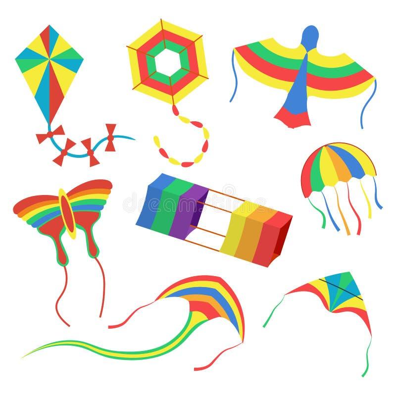 Kolorowe kanie ustawiają wektorową ilustrację na białym tle ilustracja wektor