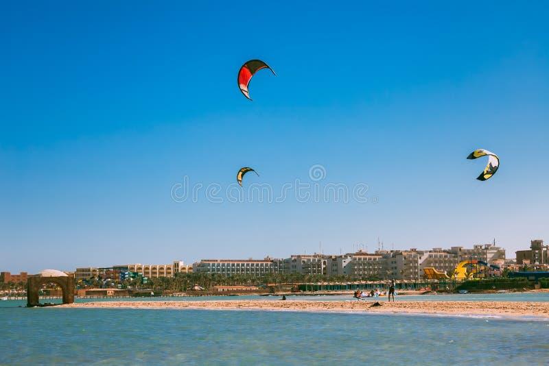 Kolorowe kanie wznosi się nad Czerwonego morza linią brzegową zdjęcia royalty free