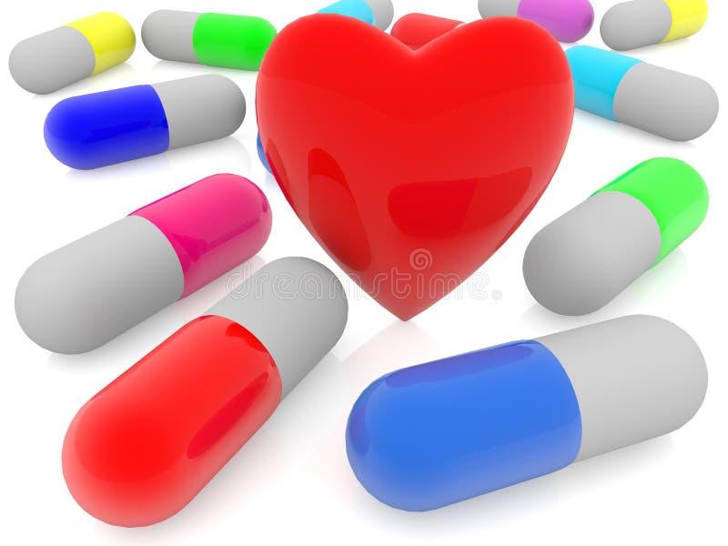 Kolorowe kapsuły medycyny i czerwieni serce na białym tle royalty ilustracja