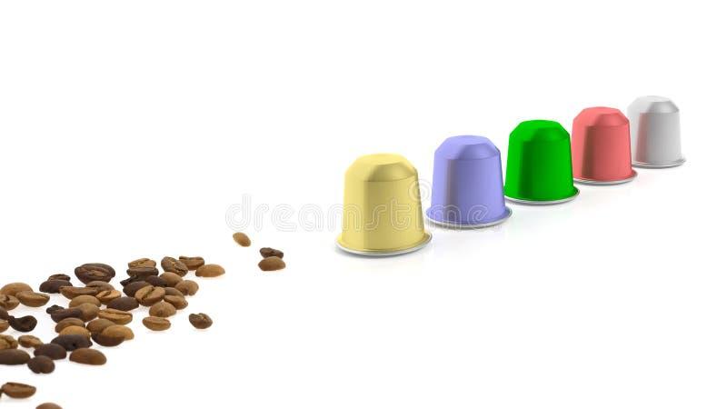 Kolorowe kawowe kapsuły i kawowe fasole royalty ilustracja
