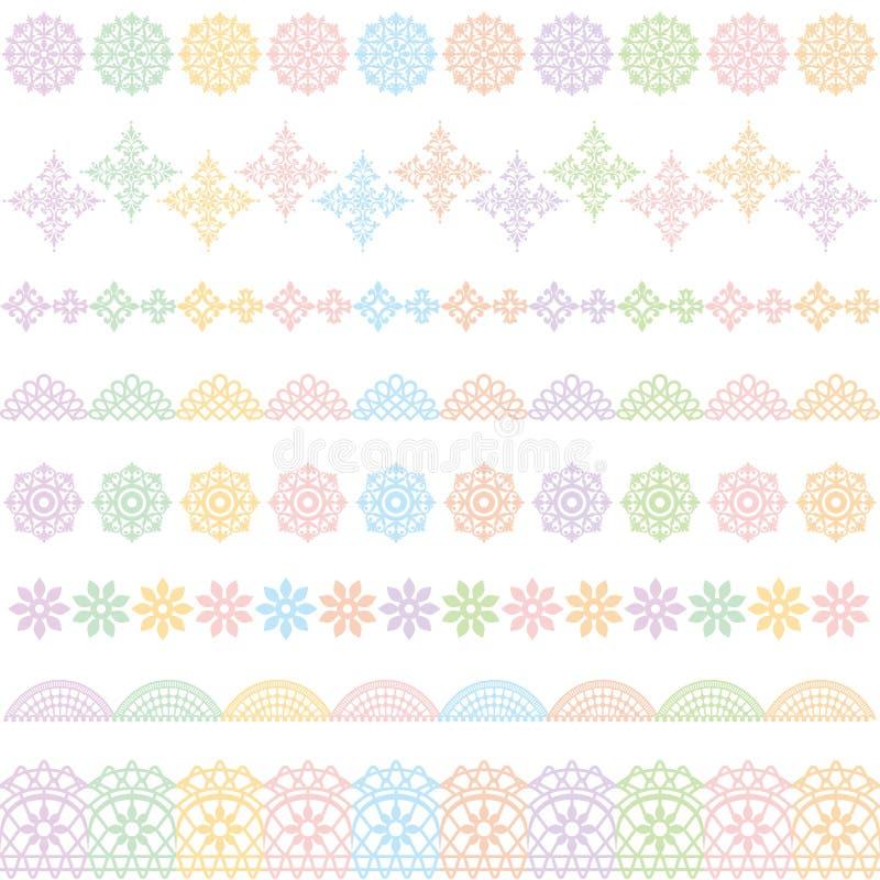 Kolorowe koronek linie Koronkowy podstrzyżenie ilustracja wektor