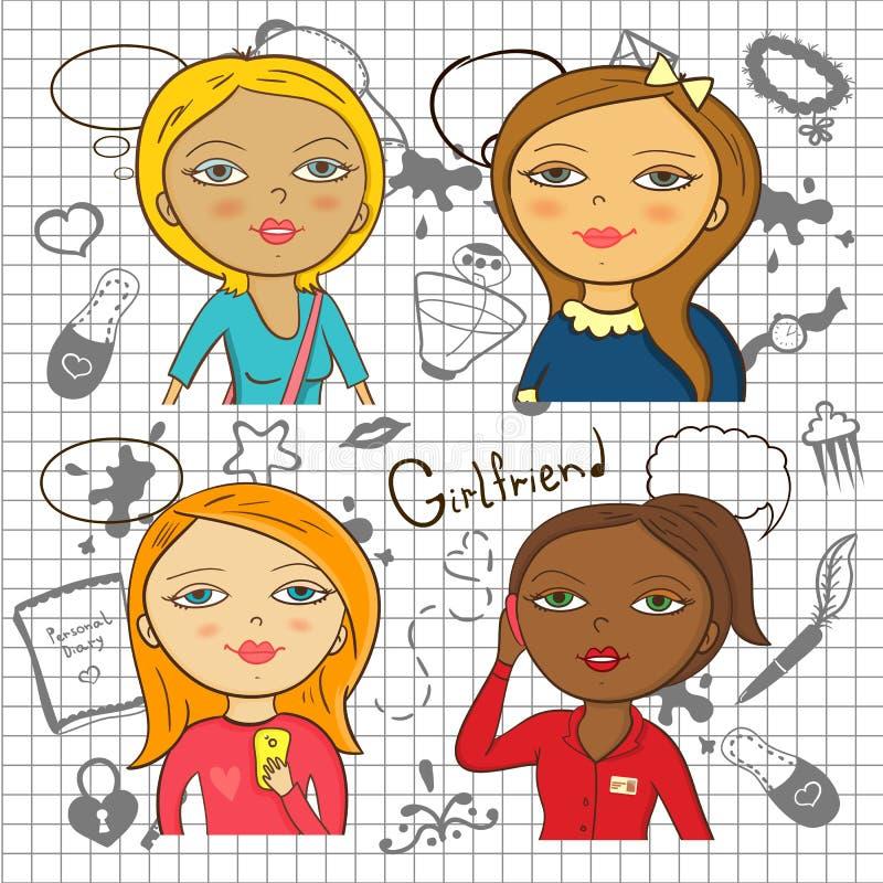 Kolorowe kreskówek dziewczyny z akcesoriami royalty ilustracja