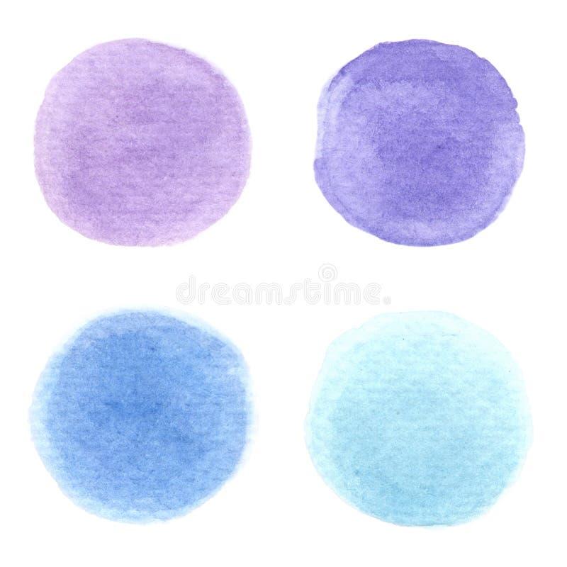 4 kolorowe krople wody, składające się zJasnopurpurowego, ciemnopurpurowego, jasnoniebieskiego, wszystkie są miękkimi tonami na b ilustracja wektor