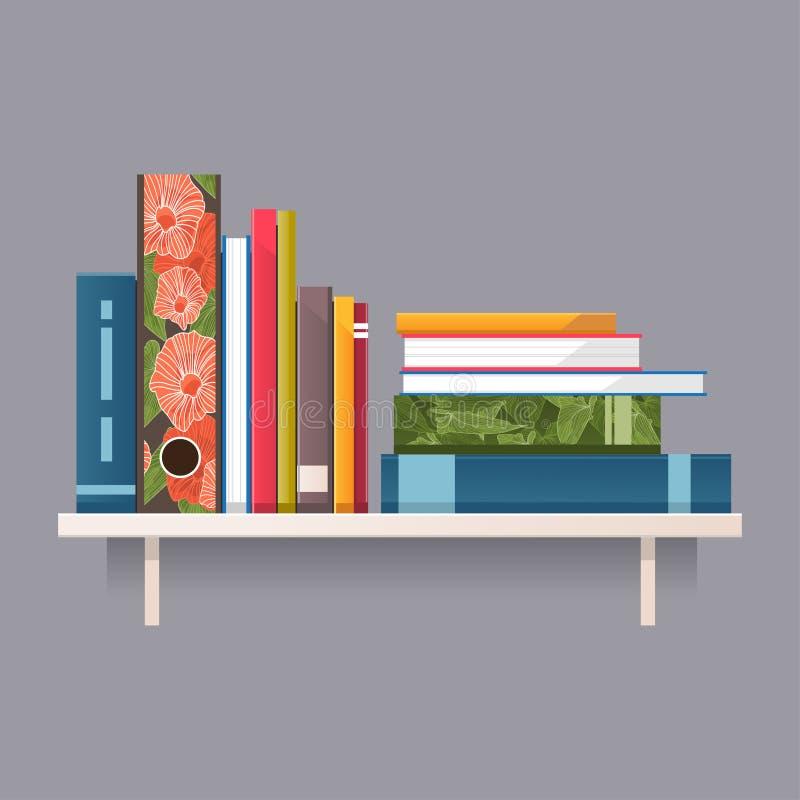 Kolorowe książki na półce również zwrócić corel ilustracji wektora ilustracji