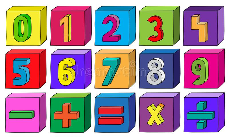 Kolorowe liczby od 1 9 z matematycznie operacjami na blokach ilustracji