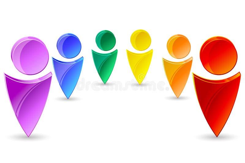 kolorowe ludzkie ikony ilustracja wektor