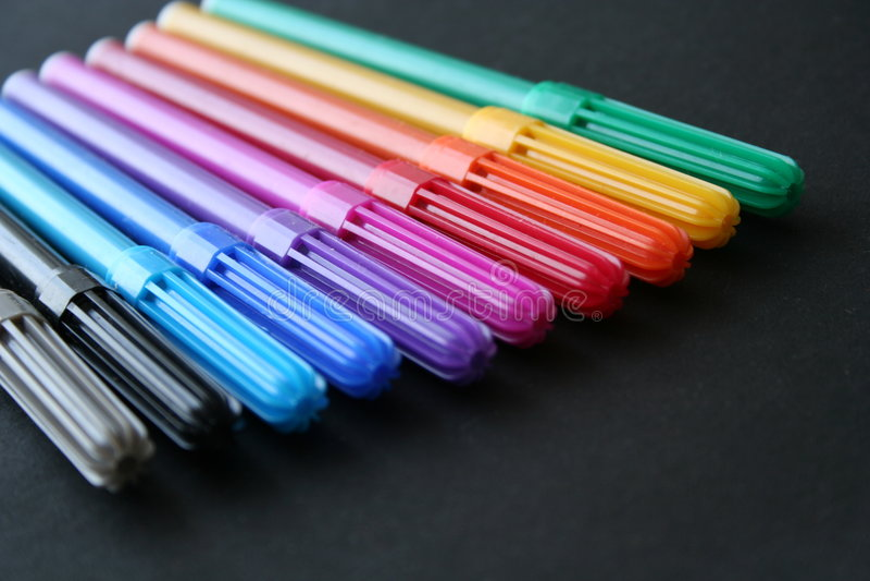 kolorowe markery ustawione fotografia stock
