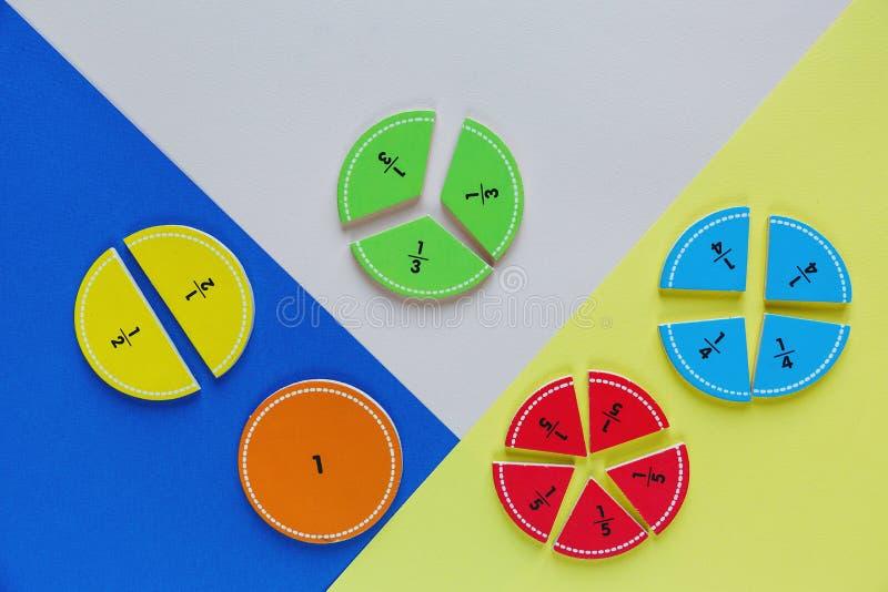Kolorowe matematyk frakcje na jaskrawych tło ciekawa matematyka dla dzieciaków fotografia stock