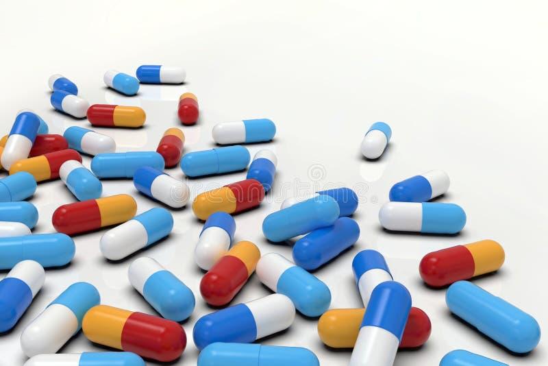 Kolorowe medycyn kapsuły na białym tle, horyzontalnym ilustracja wektor